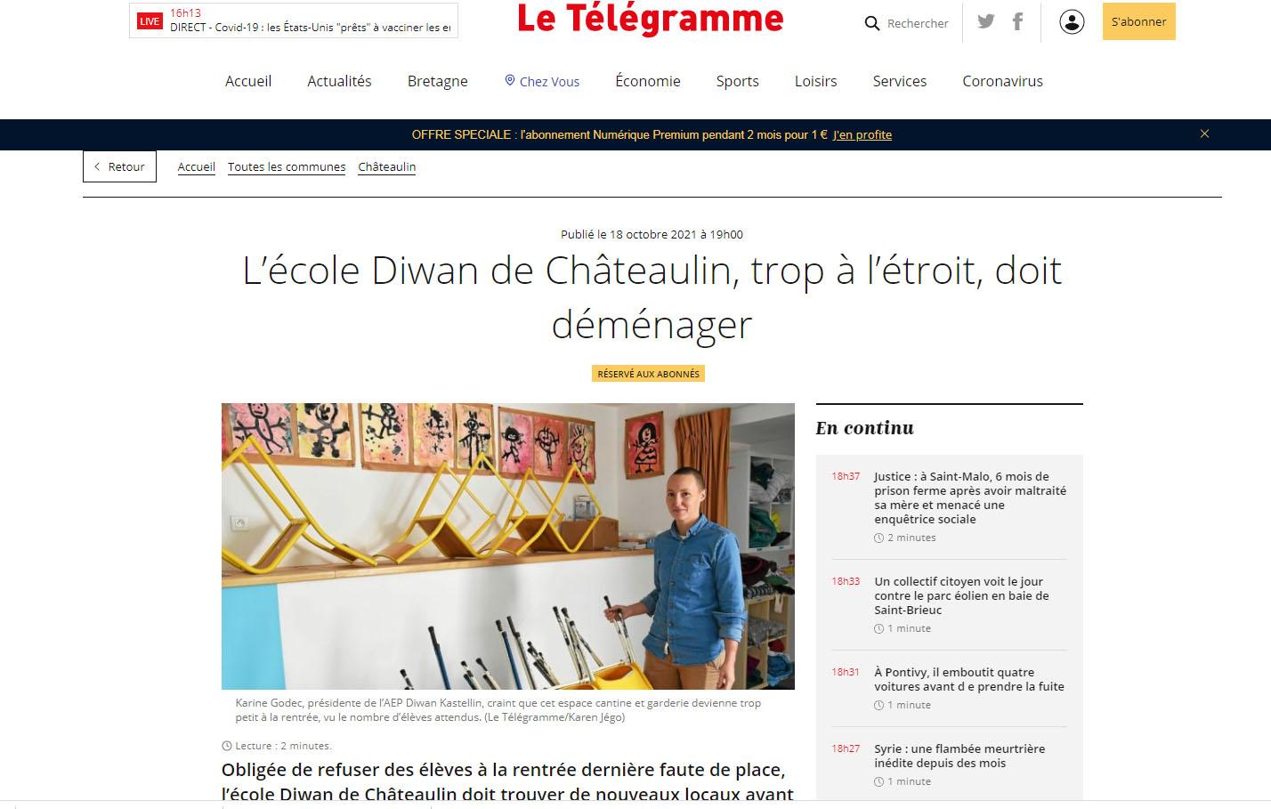 Article du Télégramme du 19/10/2021 – L'école Diwan de Châteaulin, trop à l'étroit, doit déménager